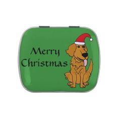 Funny Golden Retriever Christmas Candy Tin #GoldenRetrievers #dogs #Christmas #candy #funny #gifts #pets And www.zazzle.com/tickleyourfunnybone*