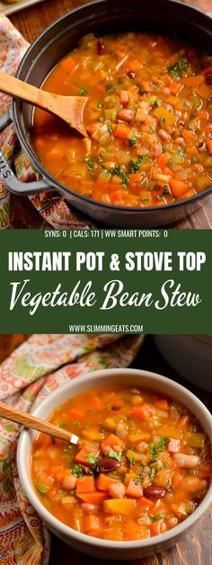 Syn Free Vegetable and Bean Stew - A perfect hearty filling dish to serve on a cold winter's day. #slimmingworld #weightwatchers #vegetables #beans #vegan #vegetarian #dairyfree #glutenfree #instantpot Slimming World Vegetarian Recipes, Vegetarian Stew, Vegan Stew, Bean Recipes, Veggie Recipes, Cooking Recipes, Bean And Vegetable Soup, Vegetable Dishes, Healthy Comfort Food