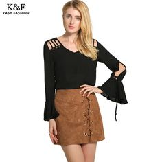Find More Blouses & Shirts Information about KASY 2017 Fashion Women Sexy V Neck Bandage Hollow Blouses Long Sleeve Solid Casual Chiffon Ruffle Blouses Tops Women Blusas,High Quality Blouses & Shirts from Kasy Apparel on Aliexpress.com