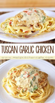 tender chicken, hearty pasta and an unbelievably tasty creamy parmesan sauce. If you have a craving for tender chicken, pasta and an unbelievably tasty parmesan sauce, this copycat Olive Garden Tuscan Garlic Chicken recipe is for you! Tuscan Garlic Chicken, Garlic Chicken Recipes, Recipe Chicken, Garlic Chicken Pasta, Jalapeno Recipes, Easy Chicken Tender Recipes, Deal Chicken, Light Chicken Recipes, Garlic Ideas