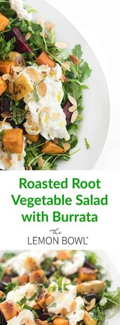 This heart, roasted root vegetable salad recipe is made creamy burrata cheese, spicy arugula and crunchy toasted almonds. It's the perfect healthy lunch, dinner, or appetizer! #salad #fallrecipes #healthyrecipes #dinner #healthyeating Burrata Salad, Burrata Cheese, Good Healthy Recipes, Vegetarian Recipes, Easy Recipes, Delicious Recipes, Popular Recipes, Tasty, Popular Food