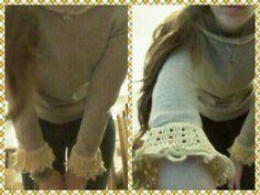 Sweter corto con puntilla gruesa a crochet