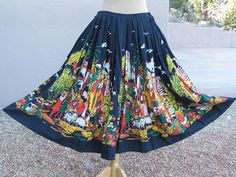 Festive 1950's Cotton Mexican Skirt with a colorful by vintage505, $85.00