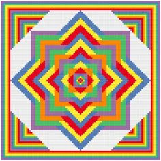 Retro Embroidery Patterns Ever Expanding cross stitch pattern. - Ever Expanding cross stitch pattern. This bright, colorful design keeps expanding. The outside edges compliment the design. Could be used as a quilt block. Cross Stitch Geometric, Modern Cross Stitch, Cross Stitch Designs, Cross Stitch Patterns, Learn Embroidery, Vintage Embroidery, Cross Stitch Embroidery, Embroidery Patterns, Embroidery Ideas