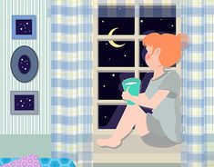 A self initiated illustration of a dreamy girl looking through the window in her lovely blue room full of sky pictures. Wacom Intuos, Jobs Apps, Blue Rooms, New Work, Behance, Sky, Gallery, Creative, Illustration