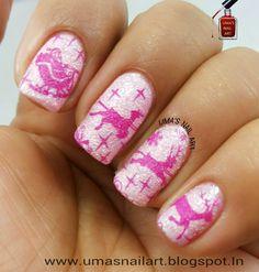 Pink Christmas Nail Art www.umasnailart.blogspot.in