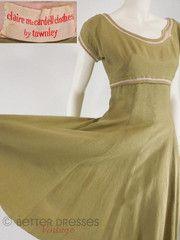 50s Claire McCardell Linen Dress - sm Vintage Style Outfits, Vintage Dresses, Nice Dresses, 50s Vintage, Vintage Clothing, 1940s Fashion, Vintage Fashion, Claire Mccardell, Retro Dress