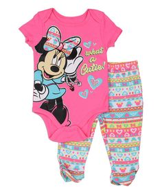 Look at this Pink Minnie Mouse 'What a Cutie' Bodysuit & Leggings - Infant on #zulily today!
