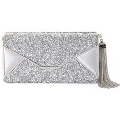 Bcbg Maxazria Slone Silver Rock Crystal Envelop Clutch ($190) ❤ liked on Polyvore featuring bags, handbags, clutches, bcbgmaxazria handbags, chain handle handbags, silver purse, silver envelope clutch bag and tassel purse