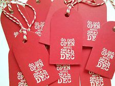 20 Vintage Style Red Handmade Christmas Tags 'Do Not Open Until 25th Dec'