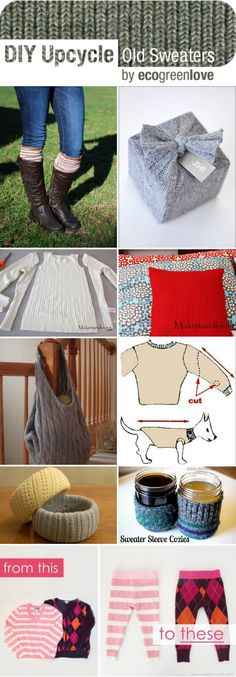 10+ Creative ways to Repurpose old Sweaters | http://ecogreenlove.com/2014/02/13/reusing-old-sweaters/