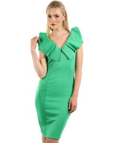 For a sophisticated and eye-catching dress, the Pleat Neck Dress by Rare London is a must-have. Featuring a statement pleat design along the v-neck line, gorgeous green hue and a sexy figure-hugging body, this Rare London dress will generate attention where ever you choose to wear it. This is the ideal dress to add to your collection for a stylishly chic look. Pair this dress with pointed nude stilettos and nude tote for a sophisticated corporate look, or high black strappy heels and…