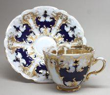 RARE Antique Large MEISSEN COBALT TEA CUP & SAUCER SET w/ Relief