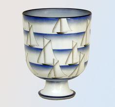 """Gio Ponti: Coppa """"Nautica"""", 1930 Porcellana policroma, cm 19,3x15. Cerro di Laveno, collezione privata"""