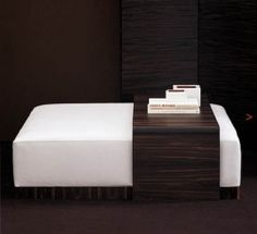 Ottoman Coffee Table- I like the wood slide table over the ottoman