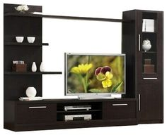 $519 3-Piece Espresso Finish Wood Modern Styling TV Entertainment Center Wall Unit - contemporary - Media Storage - AMB FURNITURE & DESIGN