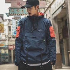 Windbreaker Jacket, Hoodie Jacket, Japanese Streetwear, Hoodie Outfit, Korean Fashion, Emo Fashion, Streetwear Fashion, Casual Shirts, Moda Masculina