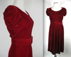 1930's Red Velvet Dress // Red Velvet Dress by WildWoodRoseVintage, $135.00