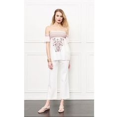 Rachel Zoe Carey Embroidered Off-The-Shoulder Top ($325) ❤ liked on Polyvore featuring tops, cropped, ecru, pants, off shoulder crop top, colorful crop tops, white off shoulder top, ruffle top and off shoulder tops