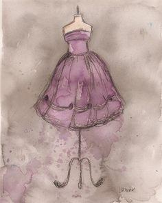 Print Watercolor and Charcoal Painting by laurenspaintpalette, $25.00