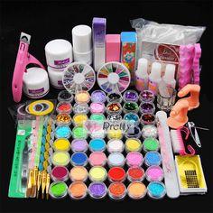 Acrylic Powder Glitter Liquid Nail Art Tips Clipper Brush Glue Sticker Kit Nail Kits, Nail Art Kit, Nail Art Hacks, Liquid Nails, Acrylic Nail Art, Art Tips, Powder, Glitter, Stickers