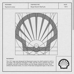 Dutch Shell plc ____________ Designer: Raymond Loewy Contractor: Royal Dutch Shell plc Date: 1971 Information: The 1971 logo was designed by Raymond Loewy; his shell symbol is still in use today. Royal Dutch Shell, Graphisches Design, Icon Design, Design Autos, Logo Luxury, Logo Process, 2 Logo, Geometric Logo, Logo Concept