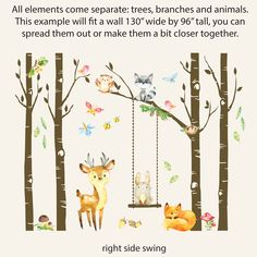 SAMPLES Woodland Nursery Decor Trees Forest Animals  Sleepy Fox