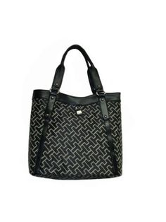 Gotta see this nice Women's Tommy Hilfiger Sizable Tote Handbag (Black Substantial Logol)