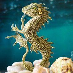 "Buy Brooch dragon ""Zlata"". Brooch beads. Embroidered dragon - brooch, copyright brooch"