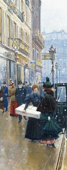 Jean Georges Beraud (French, 1849-1936) - La Devanture du Couturier Doucet.