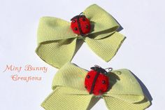 Two Ribbon Bows with ladybugs baby shower by MintBunnyCreations