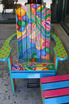 "Charming Chair"" love a bright painted chair.love a bright painted chair. Art Furniture, Funky Furniture, Colorful Furniture, Repurposed Furniture, Furniture Makeover, Decoupage Furniture, Furniture Outlet, Furniture Stores, Antique Furniture"