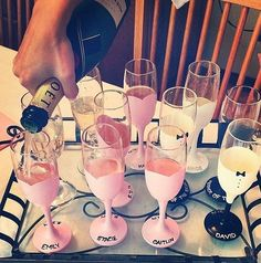 Painted Champagne Glasses for your Bridal Party are too cute for words @LuxeFinds: