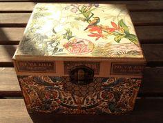 Caja de Madera cuadrada decorada Tropical Wood de por IvanTellez, $20.00
