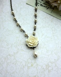 Ivory Rose Flower Ivory Pearl Drop Necklace. Maid of by Marolsha, $27.50