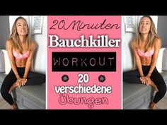 Bauchworkout ♥ Abdominal muscle training with 20 different exercises ♥ Effek . Body Training, Muscle Training, Sports Training, Zumba, Yoga Fitness, Health Fitness, Fitness Workouts, Lose Lower Belly Fat, Workout Bauch