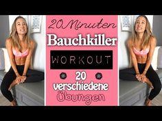 Bauchworkout ♥ Bauchmuskeltraining mit 20 unterschiedlichen Übungen ♥ Effektiv den Bauch trainieren - YouTube