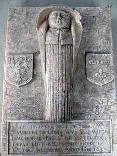 """Baby's gravestone, 1639. """"Here lieth the bodie of Sidney Win...."""" Capel Gwydir (Gwidyr Chapel), Llanwst, Wales."""