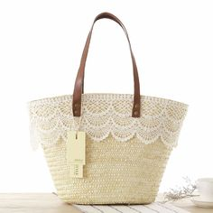 Summer Tote Bags, Lace Bag, Straw Bag, Crossbody Bag, Reusable Tote Bags, Beige, Boho Chic, Bridal Shower, 3days