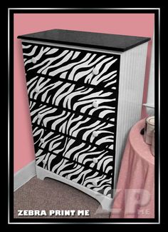 "Painting a Zebra Print Dresser {{I could do this for the girls. Some zebra, some leopard. I already painted Carter's ""Rocking Zebra"" and his ceiling fan ; My New Room, My Room, Girls Bedroom, Bedroom Decor, Zebra Bedrooms, Bedroom Ideas, Zebra Room Decor, Childs Bedroom, Zebra Decor"