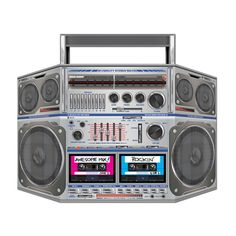 Transport your party guests back to the with this boombox decoration! The detailed cardboard stand-up is shaped like a classic boombox stereo complete . Boombox, Party Fotos, 80s Hip Hop, Hip Hop Party, Hallowen Ideas, 90s Theme, Retro Party, Dj Party, Neon Party