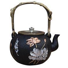Sotya Japanese Cast Iron Tea Pot With Elegant Gilt Lotus 40 ounces Black