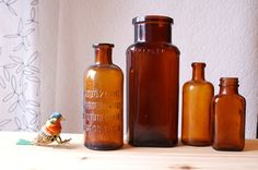 Vintage Apothecary Bottles Brown Glass by seedwingwonder on Etsy, $20.00