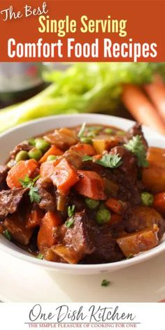 Here weve gathered over 10 of our favorite and most popular single serving comfort food recipes that youre sure to enjoy. You'll find quick recipes for Beef Stew Tuna Casserole Meatloaf and more all in single serving and small batch portions. Quick Recipes, Beef Recipes, Cooking Recipes, Cooking Ideas, Pasta Recipes, Cooking For One, Batch Cooking, Kitchen Dishes, Food Dishes