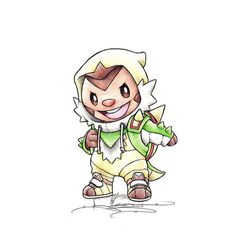 """""""When I grow up"""" Chespin in a Chesnaught onesie"""