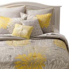 Anya 8 Piece Floral Print Bedding Set - GrayYellow