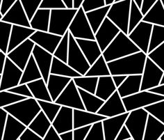 Black + White Geometric Fabric - Abstract Geometric White On Black Large By Sierra Gallagher - Cotton Fabric By The Yard With Spoonflower Geometric Fabric, Geometric Wallpaper, Custom Wallpaper, Pattern Wallpaper, Geometric Patterns, Geometric Shapes, Black And White Wallpaper, Black White, Stoff Design