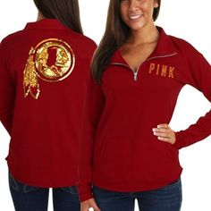 Victoria's Secret PINK Washington Redskins Ladies Half-Zip Sweatshirt - Burgundy