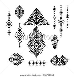 Tribal Ethnic collection, the elements of ethnic patterns of the Aztecs. Isolated on white background.