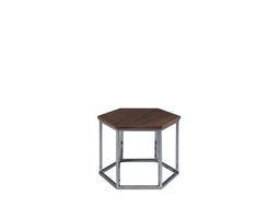 Laskasas | Arome Side Table | Hexagonal side table with a walnut top and stainless steel base. www.laskasas.com